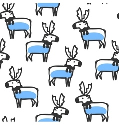 Seamless pattern with cute doodle reindeer vector