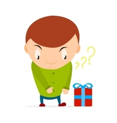 Small boy wants to take a gift box with bow and vector