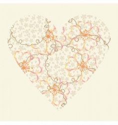 vector heart with flowers vector image vector image