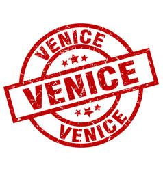 Venice red round grunge stamp vector