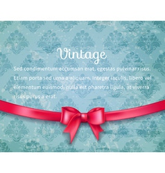 Vintage background with red bow vector