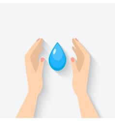 water drop in hands symbol vector image vector image