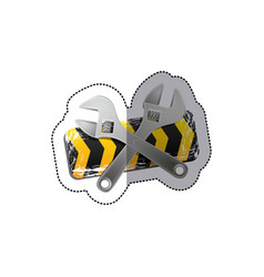 sticker barrier icon line construction with set vector image