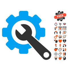 Gear and wrench icon with dating bonus vector