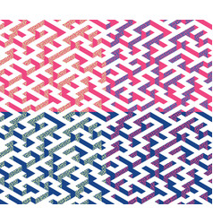 Set of isometric maze with blue and pink edges vector
