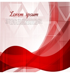 Wavy bright red backdrop with triangles vector