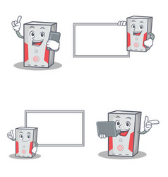 set of computer character with phone laptop board vector image