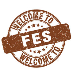 Welcome to fes brown round vintage stamp vector
