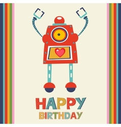 Birthday card with robot vector