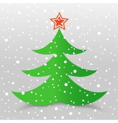 Christmas tree and snow gray background vector