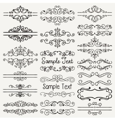 Black hand drawn dividers frames swirls vector