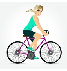 Friendly young girl riding bicycle happy vector