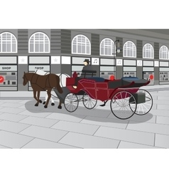 Horse drawn carriage on the street vector