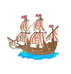 Old sailing ship flat design vector