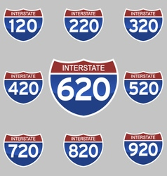 Interstate signs 120-920 vector