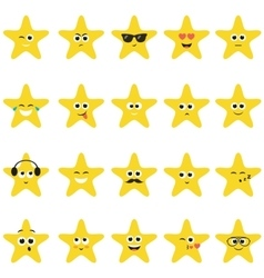 Stars with smiley faces vector