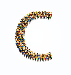 a group of people in english alphabet letter c vector image