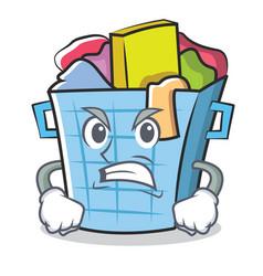 Angry laundry basket character cartoon vector