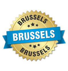 Brussels round golden badge with blue ribbon vector
