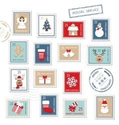 Christmas postal stamps set isolated on white vector