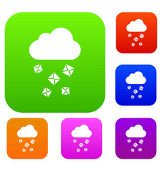 Cloud and hail set collection vector