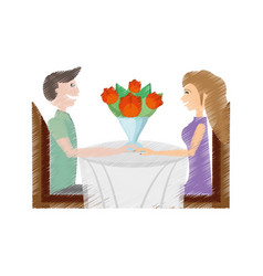 Drawing couple smiling roses sitting dating lovely vector