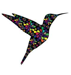 Floral hummingbird vector