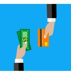 hand with credit card and cash for your design vector image vector image