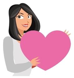 Lean woman holding cartoon heart icon vector