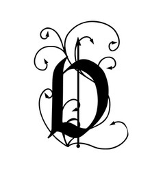 Letter d with arrows vector