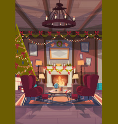 living room decorated for christmas and new year vector image vector image