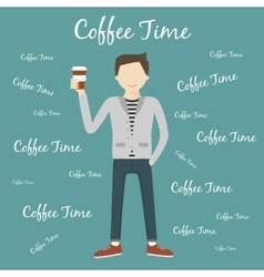 Man Drinking Coffee vector image