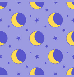 moon seamless pattern child background with stars vector image vector image