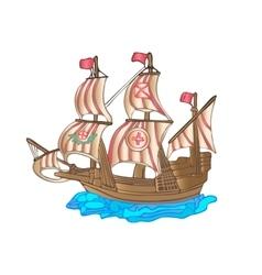 Old sailing ship Flat design vector image