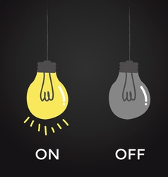 On and off bulb electric over black background vector