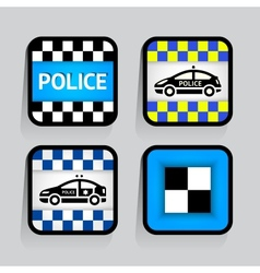 Police - set stickers square on the gray vector