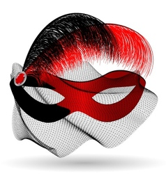 Red-black carnival half-mask and feathers vector
