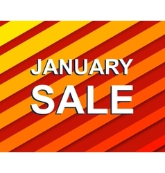 Red striped sale poster with january sale text vector