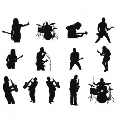rock and jazz silhouettes vector image vector image