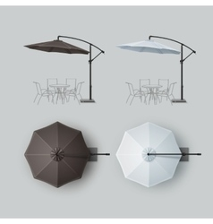 Set of Brown White Outdoor Beach Cafe Umbrella vector image