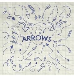 Set of pen drawing arrow shaped elements vector