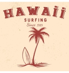 Silhouette of palm and surfboard with text hawaii vector