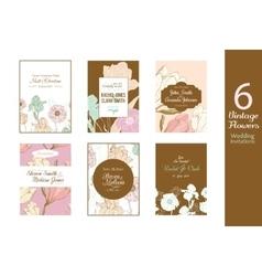 Six unique vintage floral wedding invitations vector