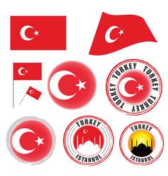 turkey flag set color on white background vector image vector image