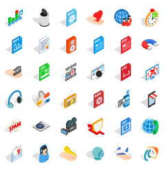 Web spam icons set isometric style vector