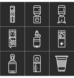 White simple line icons for water coolers vector
