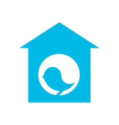 Blue silhouette of bird in birdhouse vector