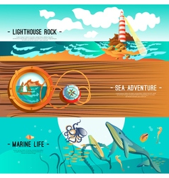 Sea nautical banners vector