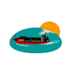 Container ship cargo boat vector