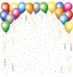 Balloons confetti and serpantine vector